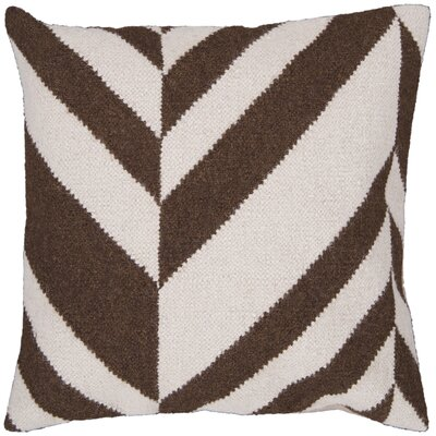 Volney Slanted Stripe Throw Pillow Size: 18 H x 18 W x 4 D, Color: Ivory / Coffee Bean, Filler: Down