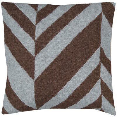 Volney Slanted Stripe Throw Pillow Size: 22 H x 22 W x 4 D, Color: Coffee Bean / Foggy Blue, Filler: Down