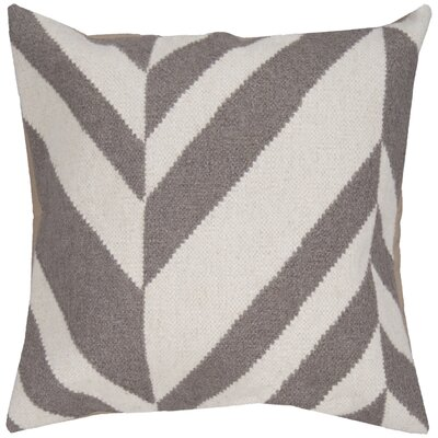 Volney Slanted Stripe Throw Pillow Size: 18 H x 18 W x 4 D, Color: Winter White / Elephant Gray, Filler: Polyester