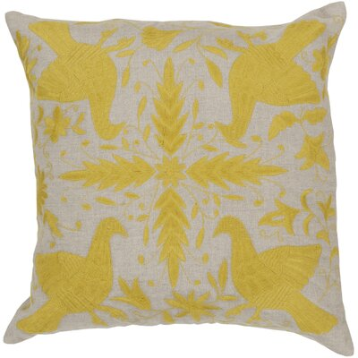 Clayton Linen Throw Pillow Size: 18 H x 18 W, Color: Oatmeal / Quince Yellow, Filler: Down