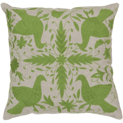 Clayton Linen Throw Pillow Size: 22 H x 22 W, Color: Oatmeal / Peridot, Filler: Polyester