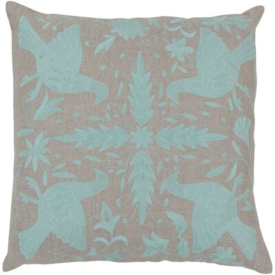 Clayton Linen Throw Pillow Size: 22 H x 22 W, Color: Oatmeal / Robins Egg Blue, Filler: Down