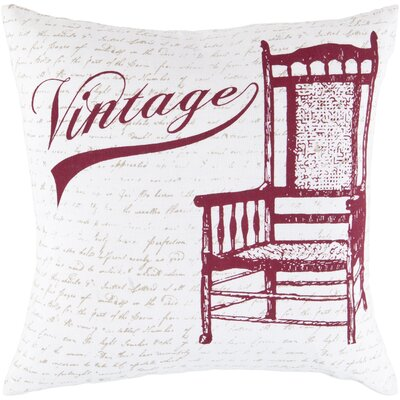 Vandalia Vintage Cotton Throw Pillow Size: 22, Filler: Down