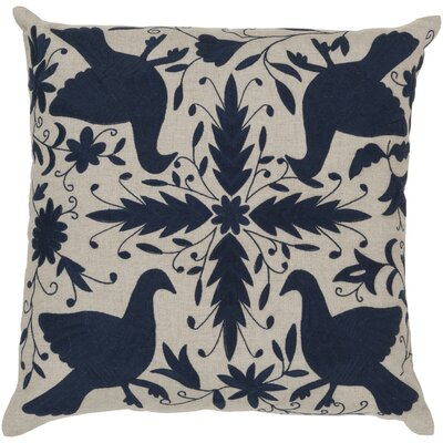 Clayton Linen Throw Pillow Size: 20 H x 20 W, Color: Oatmeal / Midnight Blue, Filler: Polyester