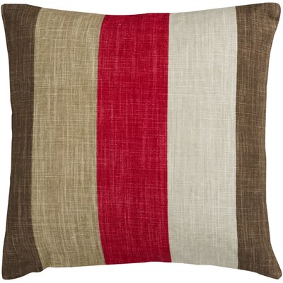 Steele Zipper Closure Stripe Throw Pillow Size: 18, Color: Red/Brown/Tan/Beige, Filler: Polyester