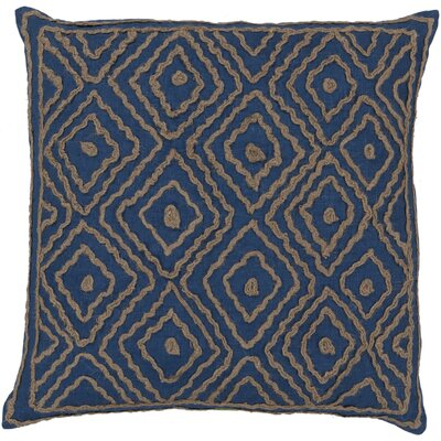 Quinnie Diamond Linen Throw Pillow Color: Mediterranean Blue / Olive Gray, Size: 20 H x 20 W x 4 D, Filler: Down