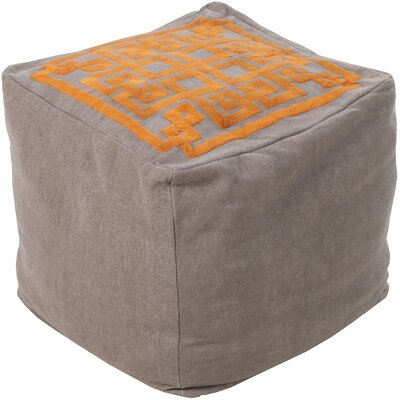 Beth Lacefield Glowing Pouf Ottoman Upholstery: Dark Taupe/Golden Ochre