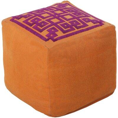 Cheyanna Pouf Ottoman Upholstery: Golden Ochre/Raspberry Wine