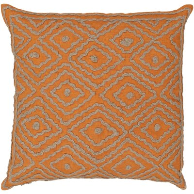 Quinnie Diamond Linen Throw Pillow Size: 20 H x 20 W x 4 D, Color: Golden Ochre / Driftwood Brown, Filler: Down