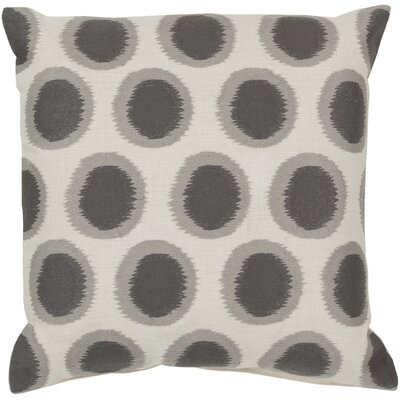Odis Pretty Polka Dot Linen Throw Pillow Size: 18 H x 18 W x 4 D, Color: Papyrus / Flint Gray, Filler: Polyester
