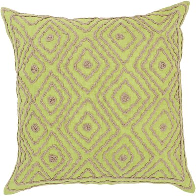 Quinnie Diamond Linen Throw Pillow Size: 22 H x 22 W x 4 D, Color: Chartreuse / Olive Gray, Filler: Down
