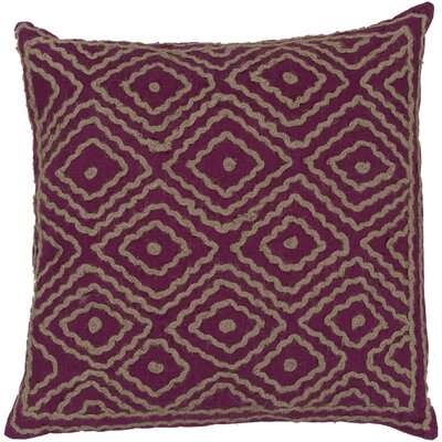 Quinnie Diamond Linen Throw Pillow Size: 22 H x 22 W x 4 D, Color: Bright Fuchsia / Olive Gray, Filler: Down