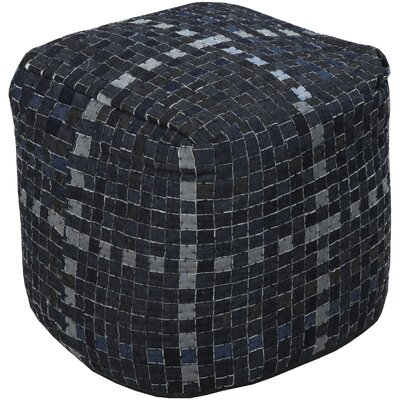 Maynard Basketweave Pouf Upholstery: Ink/Charcoal Gray/Light Gray