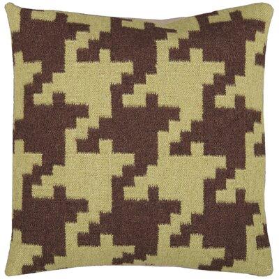 Timothy Houndstooth Throw Pillow Color: Espresso / Avocado, Filler: Polyester