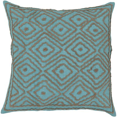 Quinnie Diamond Linen Throw Pillow Size: 18 H x 18 W x 4 D, Color: Sky Blue / Olive Gray, Filler: Polyester