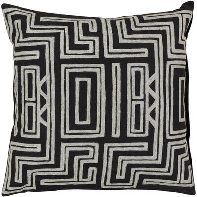 Haysville Mesmerizing Maze Throw Pillow Size: 18 H x 18 W, Color: Caviar / Papyrus, Filler: Down