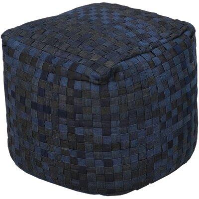 Maynard Basketweave Pouf Ottoman Upholstery: Ink/Blue Corn/Coal Black/Pewter