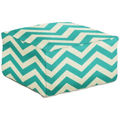 Angell Pouf Upholstery: Ocean Blue/Peach Cream