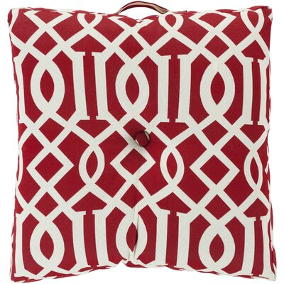 Winslow White Juxtaposed Outdoor Pillow Cover Color: Cherry