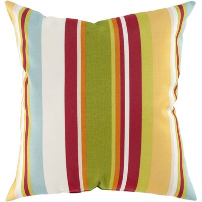 Lyra Stripe Outdoor Pillow Cover Size: 18 H x 18 W x 4 D, Color: Cherry