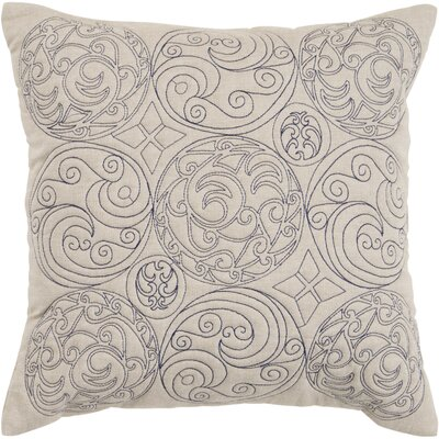Circles of Scroll Cotton Throw Pillow Size: 18, Color: Parchment/Ink, Filler: Down
