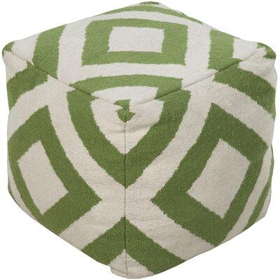 Crittenden Diamond Pouf Ottoman Upholstery: Ivory/Peridot