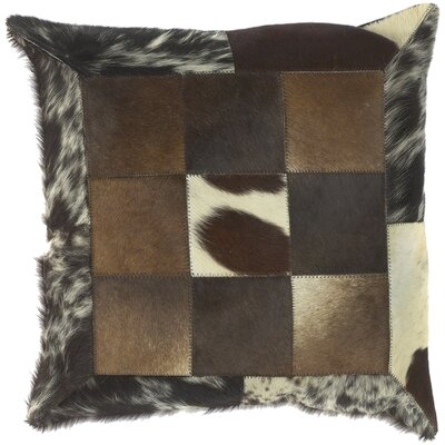 Calen Captivating Cow Hide Leather Throw Pillow Filler: Down