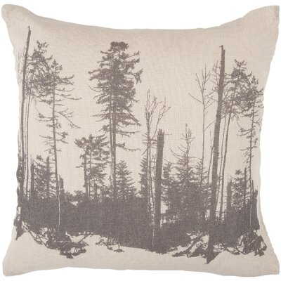 La Mesa Forest Cotton Throw Pillow Size: 18, Color: Parchment/Charcoal Gray, Fill Material: Polyester