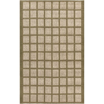 Lysi Hand-Woven Beige/Olive Area Rug Rug Size: Rectangle 5 x 8