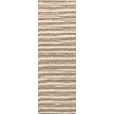 Cedar Parchment/Dark Taupe Striped Rug Rug Size: Runner 26 x 8