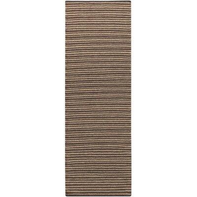 Ravena Espresso/Dark Taupe Striped Rug Rug Size: Runner 26 x 8