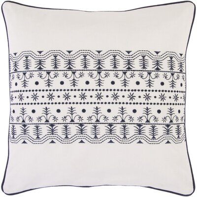 Woodbury Cotton Throw Pillow Color: Ivory, Fill Material: Down