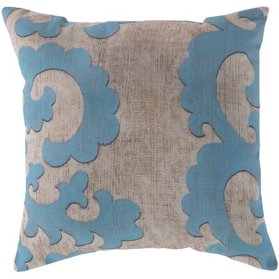 Brownville Scroll Throw Pillow Size: 18 H x 18 W, Color: Light Blue