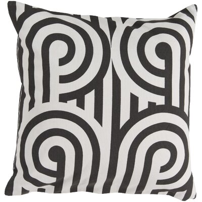 Enedina Sphere Cotton Throw Pillow Color: Black, Filler: Down