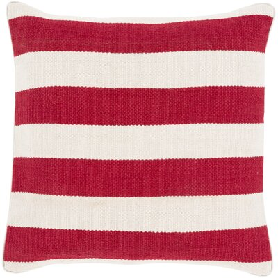 Garron Cotton Throw Pillow Size: 22, Color: Red, Filler: Down