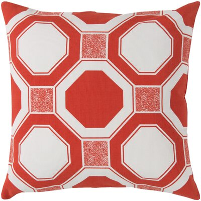 Valleyview by Hexagons Cotton Throw Pillow Color: Red, Filler: Down