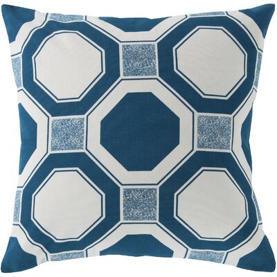 Valleyview by Hexagons Cotton Throw Pillow Color: Blue, Filler: Down