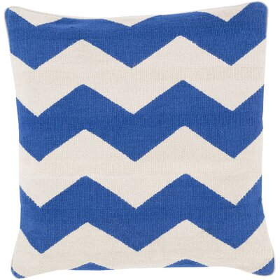 Vaughan Cotton Throw Pillow Size: 18 H x 18 W x 4 D, Color: Blue, Filler: Polyester