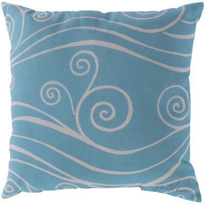 Kampsville Sweeping Swirls Throw Pillow Size: 18, Color: Light Blue