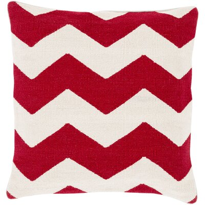 Vaughan Cotton Throw Pillow Size: 18 H x 18 W x 4 D, Color: Red, Filler: Polyester