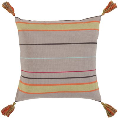 Curry and Tassel Gray Cotton Throw Pillow Size: 22, Filler: Down
