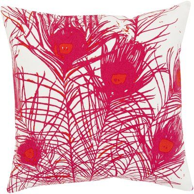 Wingert Peacock Cotton Throw Pillow Color: Pink, Fill Material: Down