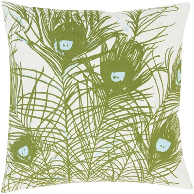Perfect in Peacock Cotton Throw Pillow Color: Green, Fill Material: Polyester