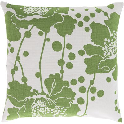 Alwyn Cotton Throw Pillow Color: Green, Filler: Polyester