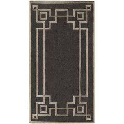 Pearce Black/Beige Indoor/Outdoor Area Rug Rug Size: Rectangle 23 x 46