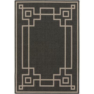Pearce Black/Beige Indoor/Outdoor Area Rug Rug Size: Rectangle 53 x 76