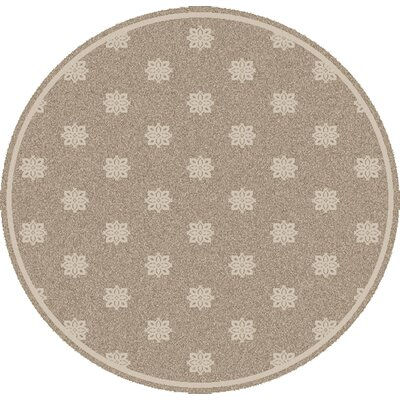 Pearce Beige/Taupe Damask Area Rug Rug Size: Round 89