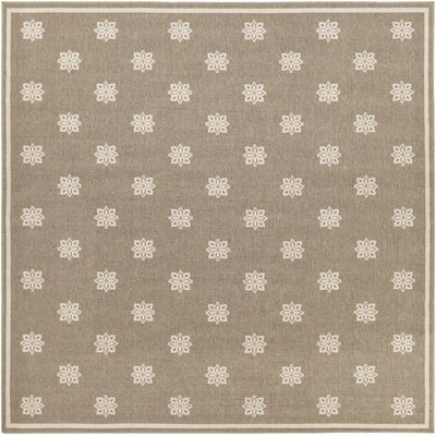Pearce Beige/Taupe Damask Area Rug Rug Size: Square 89