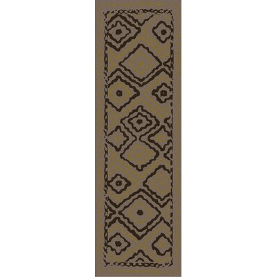 Audrina Taupe & Brown Geometric Area Rug Rug Size: Runner 26 x 8