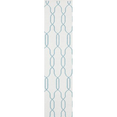 Radnor White/Blue Area Rug Rug Size: Runner 2'6